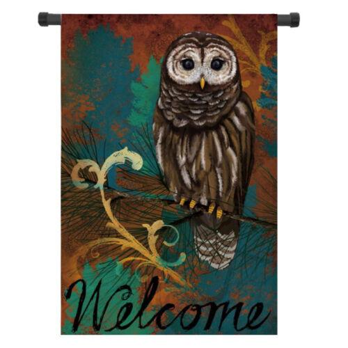 Mini 28/'/'x40/'/' 12.5/'/'x18/'/' Owl Autumn Welcome Fall House Garden Flag Yard