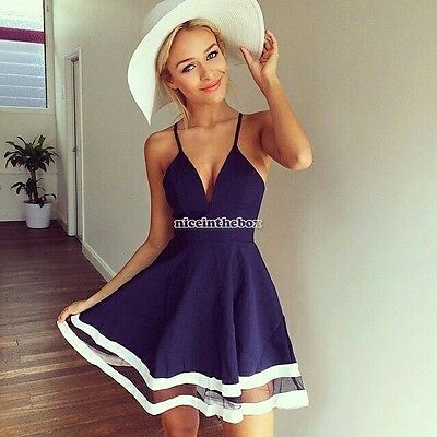 Blue Sexy Women Summer Casual Sleeveless Party Evening Cocktail Short Mini Dress