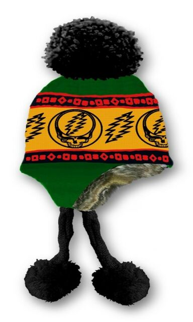 New Rasta Grateful Dead Knit Steal Your Face Adult Laplander Hat Winter  Warm NWT eb4bab724e3