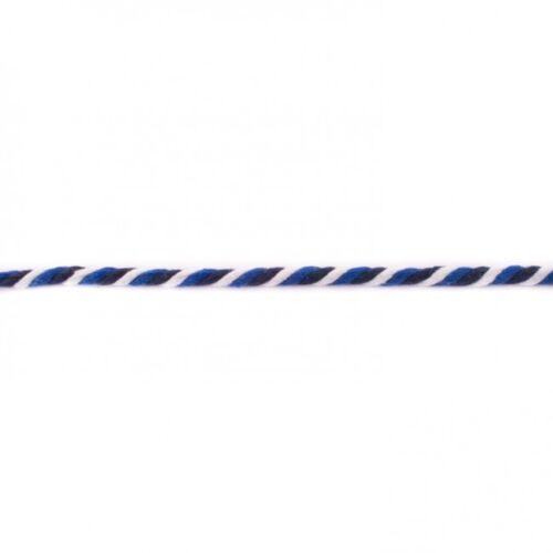1m Kordel 6mm Multicolor Dunkelblau Blau Weiß gedreht Baumwolle Leine Schnur