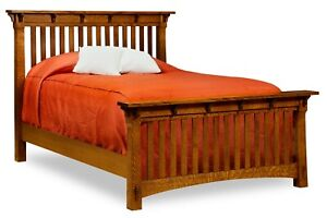 Amish Arts Amp Crafts Mission Slat Bed Solid Wood Exposed