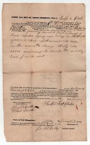 1843 Neuf Hampshire Légal Document Whitefield Coos Comté Nh Fisk Montgomery sZb3HHbw-09152901-369500243