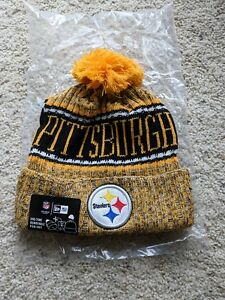 c269d599124 Image is loading New-Era-Pittsburgh-Steelers-Yellow-Knit-2018-Pom-