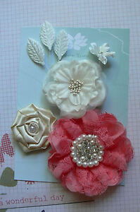 CORAL-IVORY-SATIN-LACE-Mixed-Designs-4-Flowers-3Leaves-25-85mm-across-Green-Tara