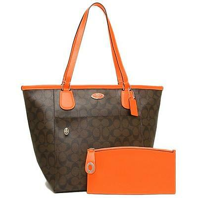 Coach F34080 Neon Orange Signature Taxi Zip Tote Bag With Pouch jeptall
