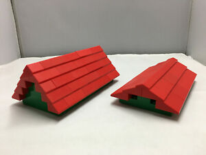 2 x LEGO 6121 Roof Dach 4 x 8 x 6 in Rot