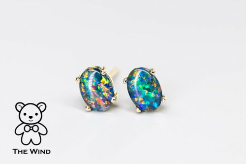 Minimalist Oval Australian Triplet Opal Stud Earrings 14k Yellow Gold Rainbow