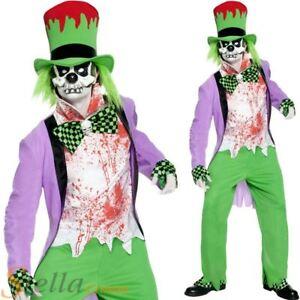 Mens Bad Hatter Costume Mad Halloween Fancy Dress Wonderland Adult Outfit
