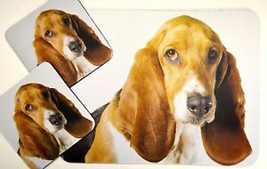3 pc Set Dog Lovers Mouse Pad 9x7 + 2 Coasters BASSET HOUND Puppies Little Gifts