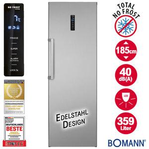 Bomann Vollraum Kühlschrank NoFrost 185cm Tür Display Edelstahl Look freistehend