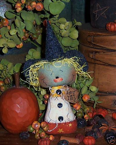 Primitive Witch Annie Halloween Ornie Doll Paper Pattern #507