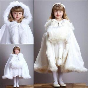 e1db5610f1f Christmas Winter Wedding Flower Girl Cloak Faux Fur Trim Little Girl ...