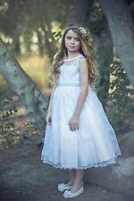 New Flower Girls White Organza Dress Size 6 First Communion Wedding Baptism
