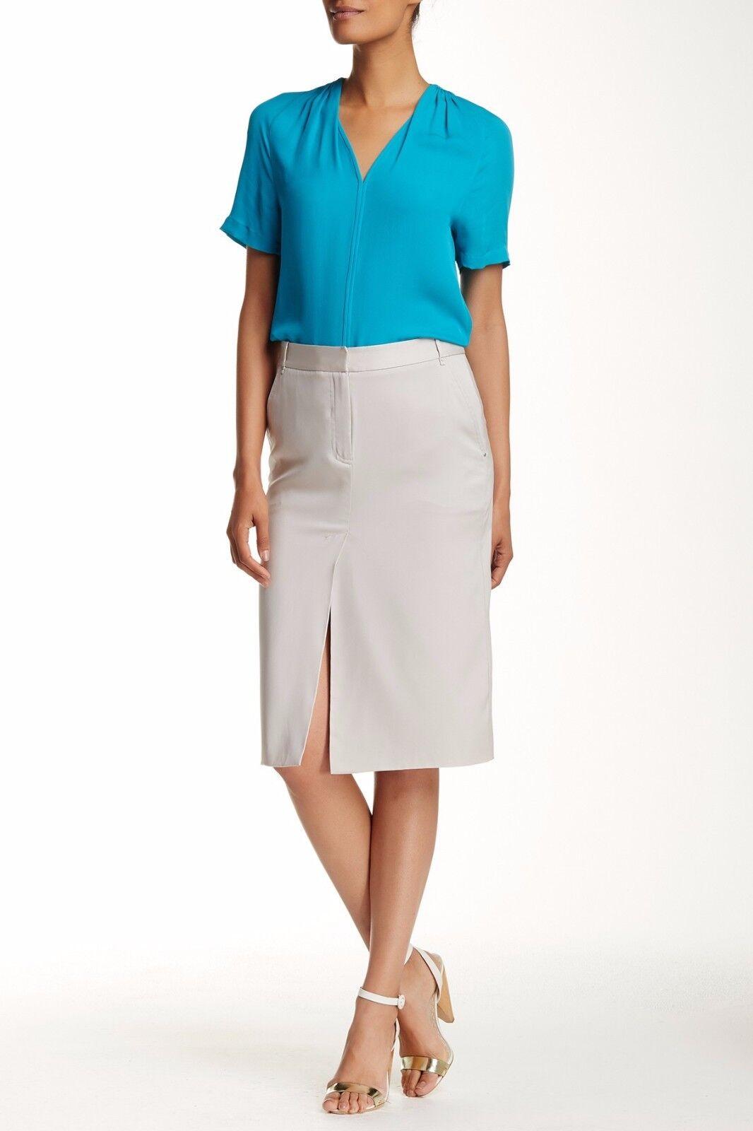 Halston Heritage Midi Silk Blend Pencil Skirt sz 8