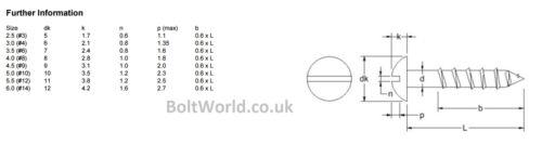 Tête ronde fendue vis à bois aggloméré dôme slot pan A2 en acier inoxydable din 96
