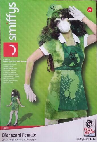 Ladies Biohazard Nurse Fancy Dress Costume Lab Zombie Hospital Halloween M 12-14