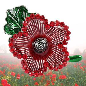 Vintage Red Poppy Brooch Flower Enamel Crystal Pins Poppies Badge Valentines Day 6299226982250