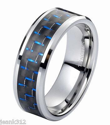 Tungsten Carbide Wedding Band Ring 8mm Black Blue Carbon Fiber Men's Anniversary
