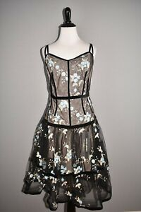 BRONX-AND-BANCO-NEW-475-Embroidered-Marietta-Fit-amp-Flare-Dress-UK-12-US-8