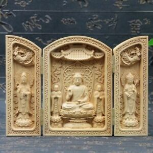 Chinese-Boxwood-Handmade-Carved-Three-Saints-Of-The-West-Open-Box