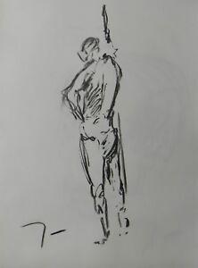 JOSE TRUJILLO - Contemporary ORIGINAL CHARCOAL DRAWING Standing ARTIST MODEL