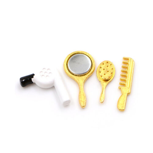 1//12 Dollhouse Miniature Bathroom Accessory Comb Hair Dryer Mirror 4pcs Set Jl