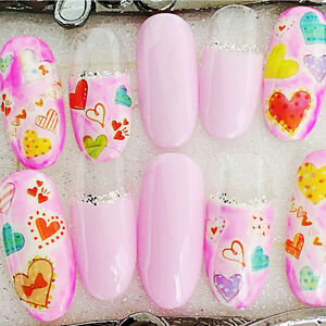 1-Sheet-Adhesive-3D-Nail-Art-Stickers-Decal-Cute-Heart-Pattern-Manicure-XF3032