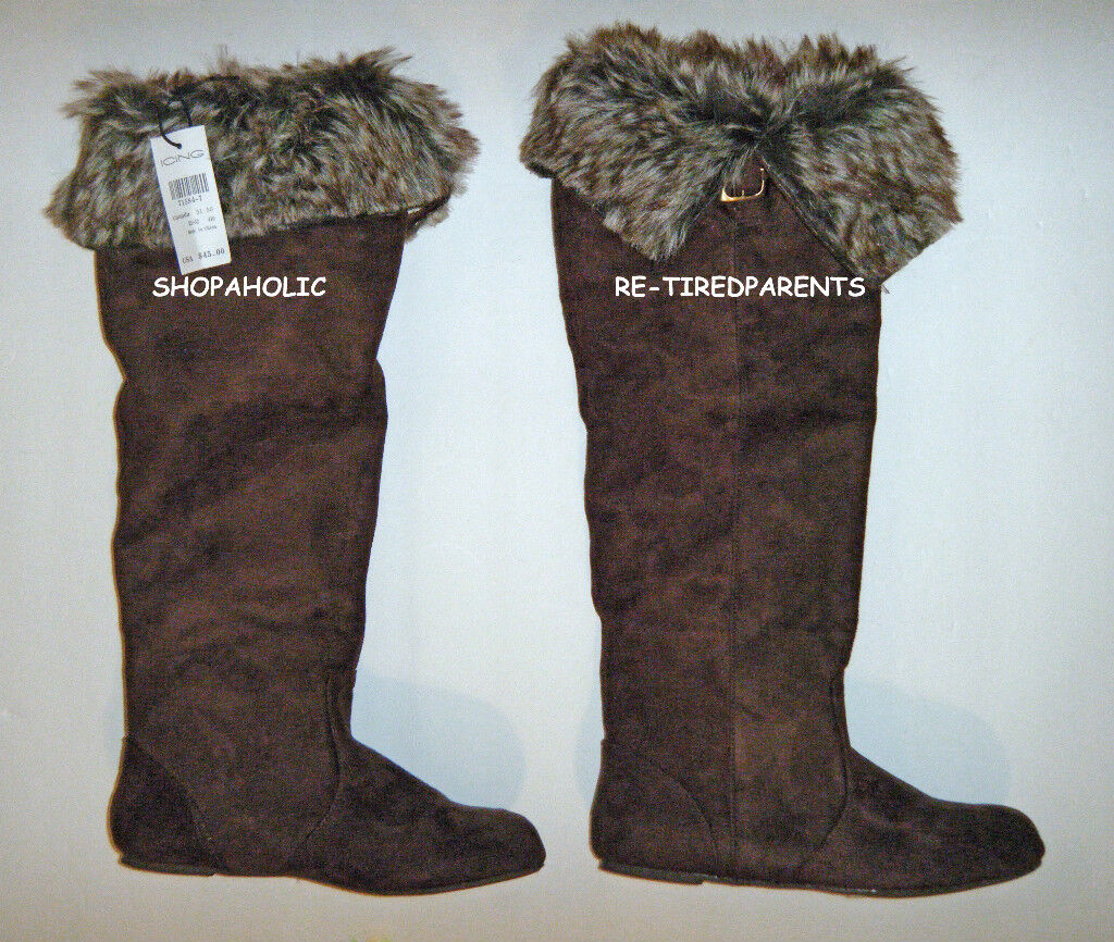 BOOTS – FASHION - KNEE-HIGH - BROWN - TEXTILE SUEDE -  FUR – SIZE 6 – NWT