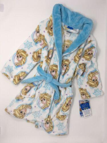 Disney Frozen Plush Elsa Robe 3T NWT Wrap With Tie White And Blue