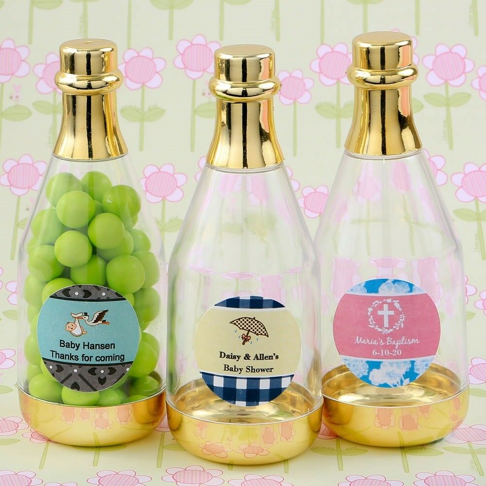 50 Personalized Gold Champagne Bottle Candy Box Baby Shower Party Favors