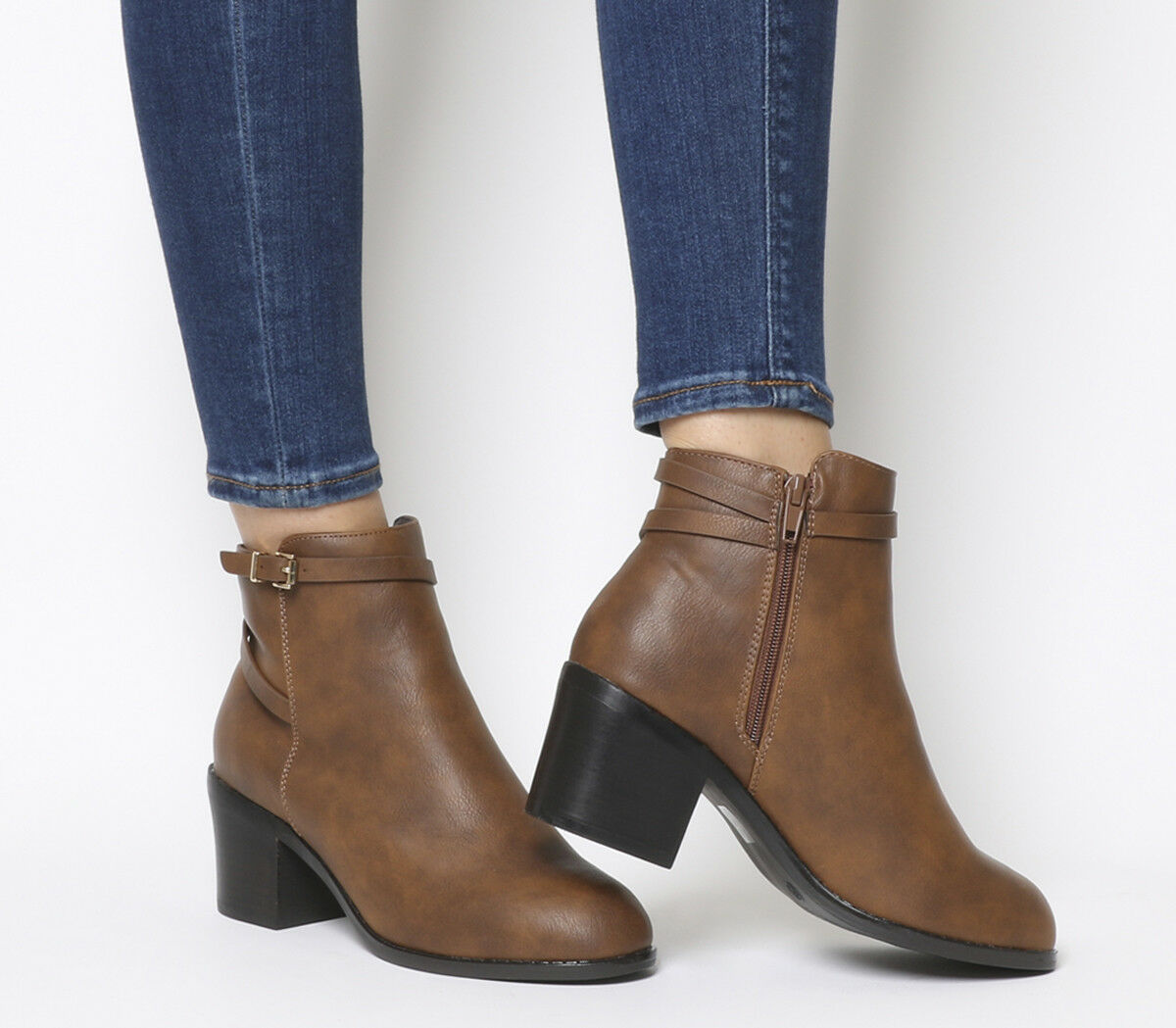 Womens Office Attract Ankle Strap Boots TAN Boots
