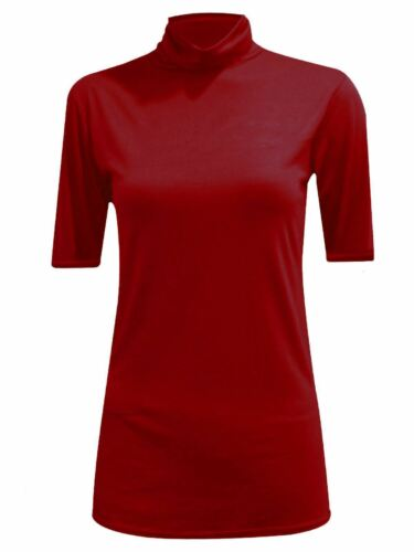 New Womens Ladies Turtle Polo Roll Neck Short Sleeve Plain Stretch T Shirt Top