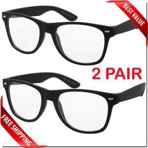 Nerd-Style-Clear-Lens-Glasses-2-Pair-Mens-Womens-Fashion-Retro-Style-Sunglasses
