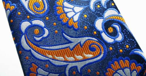 New Classic Paisley Blue Orange White JACQUARD WOVEN Silk Men/'s Tie Necktie