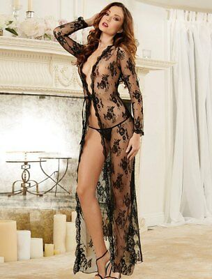 Sexy Negligee Jacket Robe Lingerie Rose Lace 12 14 16 18 20 22 Beautiful