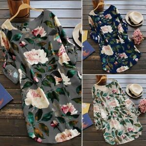 Vestido-De-Verano-ropa-de-algodon-de-las-Senoras-Blusa-Mangas-Largas-Floral-Tunica-Top-Estampado