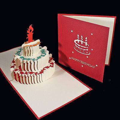 Awe Inspiring Pop Up 3D Birthday Card 3 Tier Cake Candle Garland Decoration Funny Birthday Cards Online Chimdamsfinfo