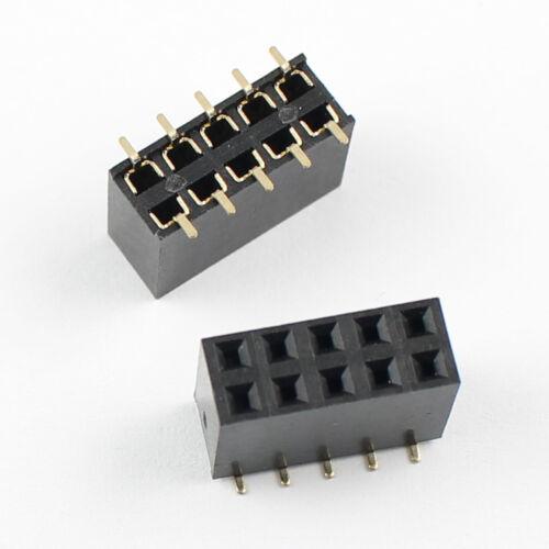 Paso de 5Pcs 2.54mm 2x5 Pin 10 Pin hembra doble doble fila SMT Pin Tira de encabezado