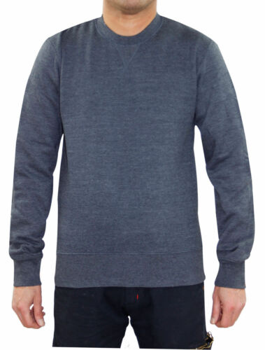 Mens Fleece Lined Knit Sweatshirt Melange Round Neck Pullover Ribbed Jumper