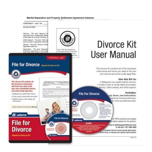 Adams File For Divorce Manual /& CD Personal Law  SmartLegalForms Divorce Kit NEW