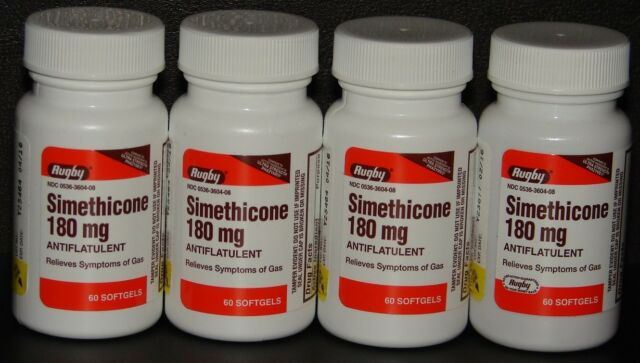 Rugby Simethicone Gas Relief 180mg (Compare to Ultra Strength Phazyme) 60ct -4pk