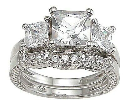 4 CARAT .925 STERLING SILVER PRINCESS CUT 3 STONE WEDDING ENGAGEMENT RING SET