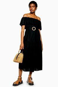 Ex-TOPSHOP-Black-Ruffle-Bardot-Midi-Dress-UK-14-US-10-EUR-42-TS53-13