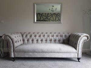 Metallic Putty Velvet Sofa Suites