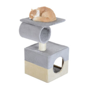 Small Cat Tree Condo Perch Scratching Post for Small Cat and Kittens Grey