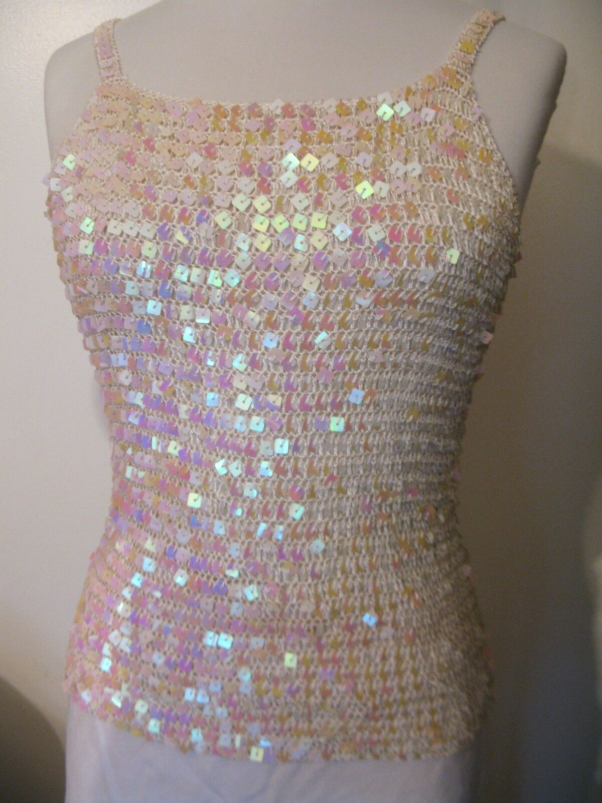 Designer Party Formal Bridal Dance Bodycon Cotton Candy Crochet Sequin Top S
