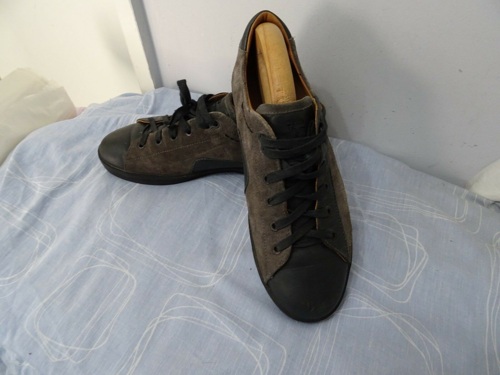 MENS PIRELLI MADE IN ITALY SUEDE LEATHER LACE UP GREY SNEAKERS SIZE UK 8
