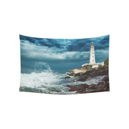 Ocean Wave Tapestry Wall Hanging LighthouseRocky Beautiful Scene Tapestries