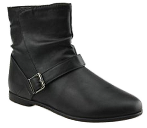 Women/'s Jet Black Buckle Detailed Low Flat Heel Ankle Boots 3 4 5 6 7 8