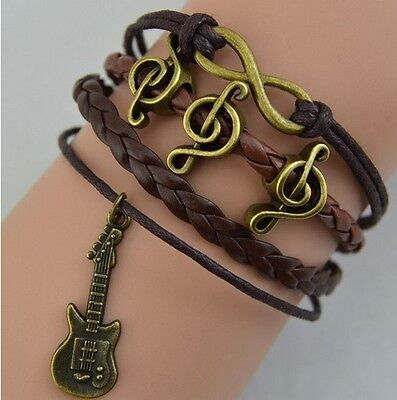 NEW Infinity Guitar Music Friendship Antique Copper Leather Charm Bracelet